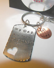 Load image into Gallery viewer, Personalized  custom key ring gift for dad with kids name, daddy is a hero hand stamped keychainhandstamped jewelry
