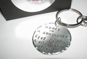 Daddy a daughters first love, daddy daughter keychain for wedding , custom personalize hand stamped keychain.handstamped jewelry