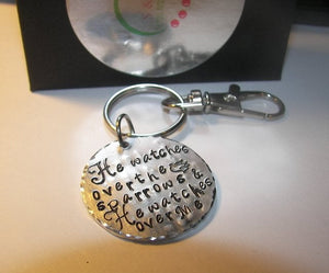 He watches over the sparrows keychain,  quote keychain, personalized handstamped  keychain, handstamped key ringhandstamped jewelry