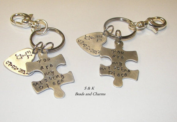 puzzle piece couples key chain with name charm, Autism key chain  personalized hand stamped keychainhandstamped jewelry