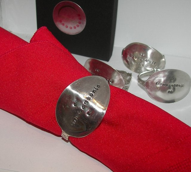 Personalized vintage silverware napkin rings, table ware setting decor, custom napkin ring