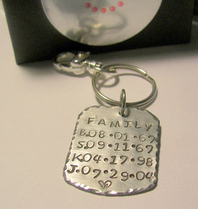 Family birthday keychain with kids names and birth dates, hand stamped date jewelry,  personalized keychain for dadhandstamped jewelry
