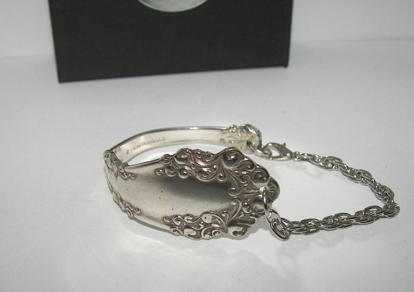 Custom 1847 Rogers vintage silverware cuff bracelet , upcyled vintage spoon handle bracelet,recycled spoon silverware  jewelry