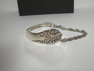 Custom 1840s Rogers vintage silverware cuff bracelet , upcyled vintage spoon handle bracelet,  recycled spoon silverware jewelry