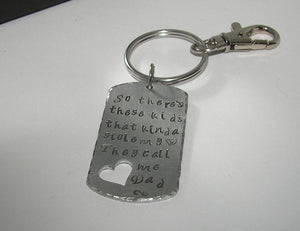 There's these kids who stole my heart they call me daddy , custom personalized  Hand stamped keychain, gift for dad from kids