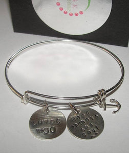 Hope anchors the soul adjustable bangle bracelet,  Custom personalized hand stamped  jewelry, Religious quote bracelet
