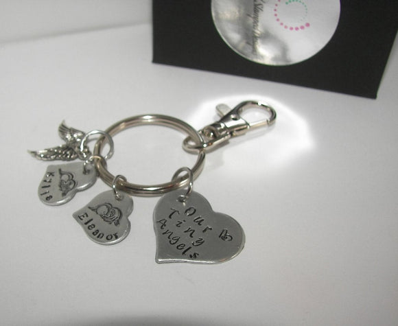 Our little  angel key ring personlaized infant loss memorial key ring, custom hand stamped memorial key ringhandstamped jewelry