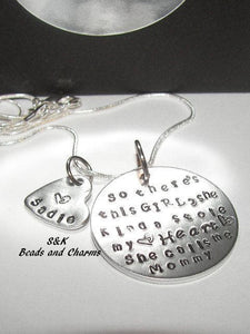 So there 's this girl custom hand stamped mom necklace, Custom personalized hand stamped jewelry with  kids name for  mom,