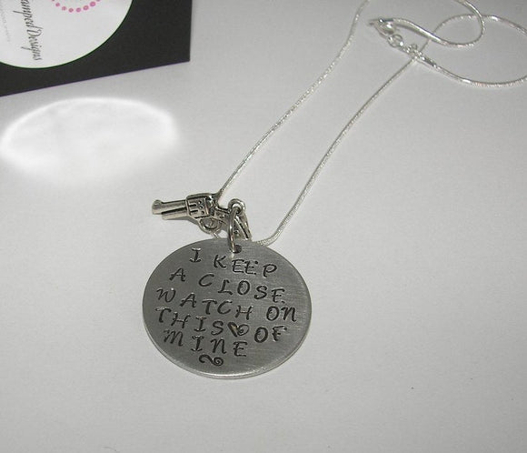 sterling silver I keep a close watch on this heart, custom personalized hand stamped jewelry , Johnny cash quote