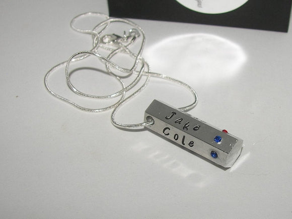 6 sided bar necklace, personalized jewelry , kids name necklace, gift for mom