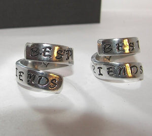 Best friends pewter wrap ring, personalized jewelry, handstamped jewelry ring for friend ,  gift for best friend, handstamped jewelry
