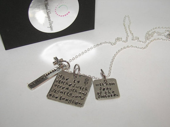sterling silver Proverbs 31:25, She is clothed with strenght, Hand stamped jewelry,religious necklace, personalized jewelry