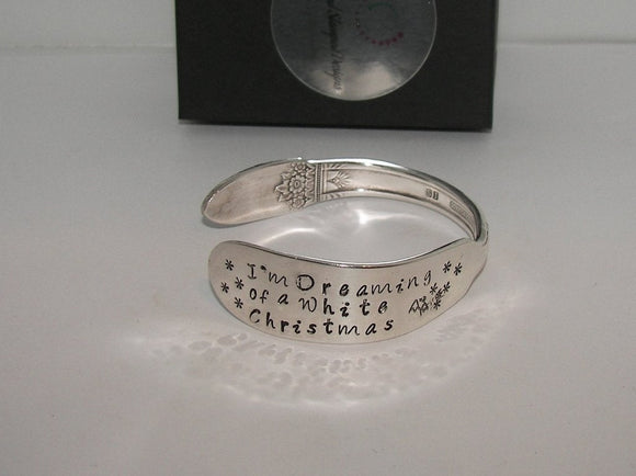 I'm dreaming of a white Christmas vintage  silverware cuff, personalized hand stamped cuff bracelet, custom spoon jewelry