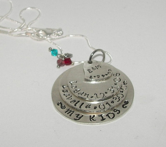 sterling silver 4 layer Mommy necklace, custom personaize hand stamped jewelry, layer necklace with kids names