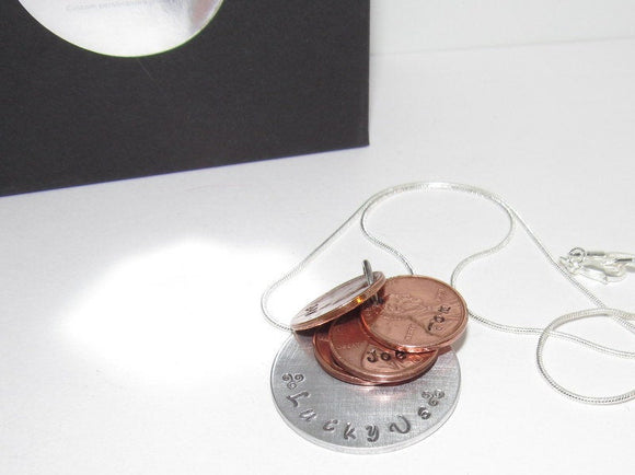 personalized Luck Us penny necklace , coin jewelry, family necklace for mom, Anniversary gift  , Birth year penny necklace