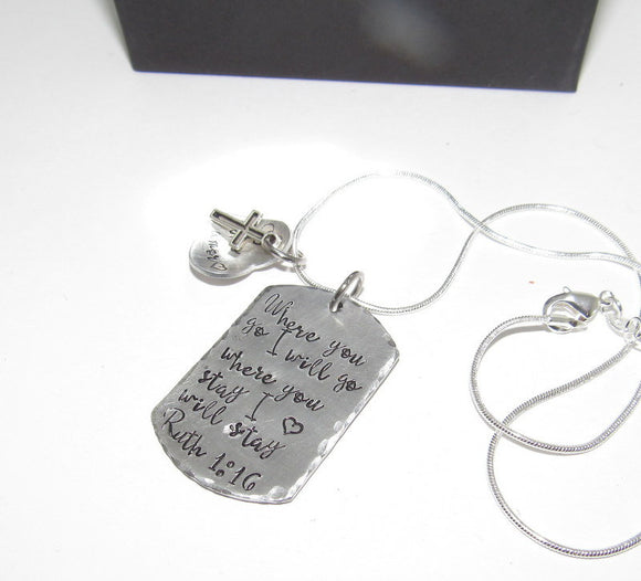 personalized Ruth 1:13, mommy necklace where you go I will go . Personalized hand stamped jewelry. Handstamped gift for her.