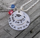 Custom personalized  graduation gift,  Hand stamped jewelry graduation necklace or key ring, Gift for graduate handstamped jewelry