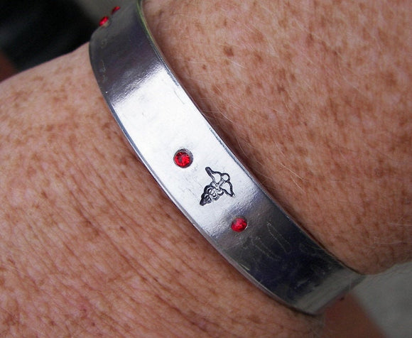 Medical alert bracelet,  custom personalized medical alert cuff bracelet, handstamped jewelry med alert
