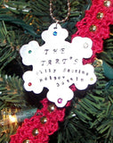 Family chirstmas ornament  snow flake, Custom Hand stamped gifts, personalized gift for christmas, handstamped jewelry