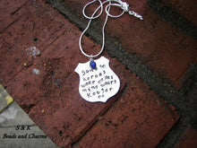 Load image into Gallery viewer, My hero wears Kevlar officer wife necklace , blue lives matter jewelry ,custom personalize  hand stamped fashion jewelry