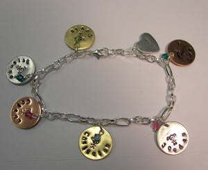 Sterling silver and mixed metal charm bracelet for mom with kids names, Grandmothers charm bracelet, keepsake gift from grandkids