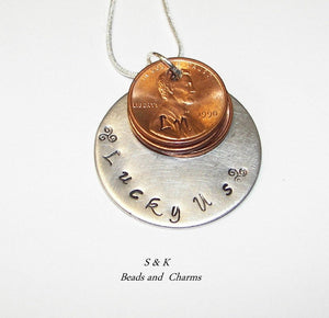 Lucky Us personalized penny necklace ,  Custom hand stamped  penny jewelry for mom , mothers jewelry handstamped jewelry