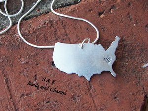 Hand stamped jewelry, personalized jewelry, custom  jewelry, best friend jewelry, USA Charm, long distanced necklace, custom jewelry