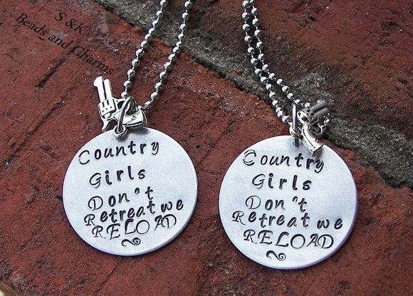 Sterling silver Country girls don't retreat, custom hand stamped jewelry, bff gift,