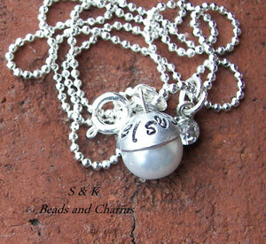 Brides maid custom personalized jewelry , hand stamped birthstone pearl gift, custom name gift handstamped jewelry