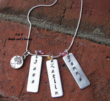 sterling vertical bar necklace, Personalized jewelry , mothers necklace, kids name necklace, anniversary gift for mom