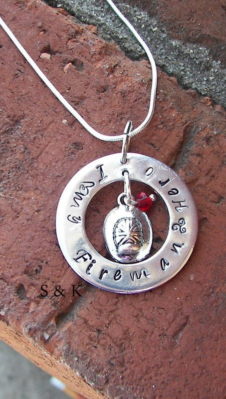 sterling silver Fire fighters wife, I love my fireman,  custom personalized handstamped jewelry