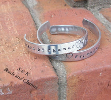 Load image into Gallery viewer, Sisters by chance, Hand stamped jewelry, sister jewelry, personalized jewelry, handstamped jewelry , mothers  cuff  bracelet, mom gift