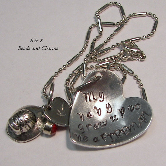 My baby grew up to be a fireman,  personalized hand stamped necklace for fire fighter mom, cutom gift for mom handstamped jewelry