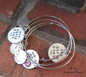 Adjustable bangle Mommy charm  Bracelet, custom hand stamped personalized mommy jewelry, Mom bracelet with kids names