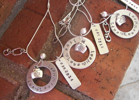 925 sterling silver nurses graduation gift love live and heal  necklace,  Hand stamped personalized  jewelry, Nurses day gift