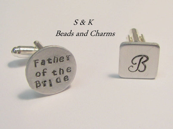 Father of the bride or groom cuff links, grooms men gift, personalized hand stamped jewelry for men handstamped jewelry