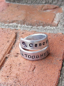 Cancer is tough but I am tougher, custom hand stamped awareness wrap ring, cancer awareness jewelry handstamped jewelry