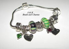 Load image into Gallery viewer, Custom personalized european charm , Hand stamped charm  jewelry, one of a kind bracelet charm