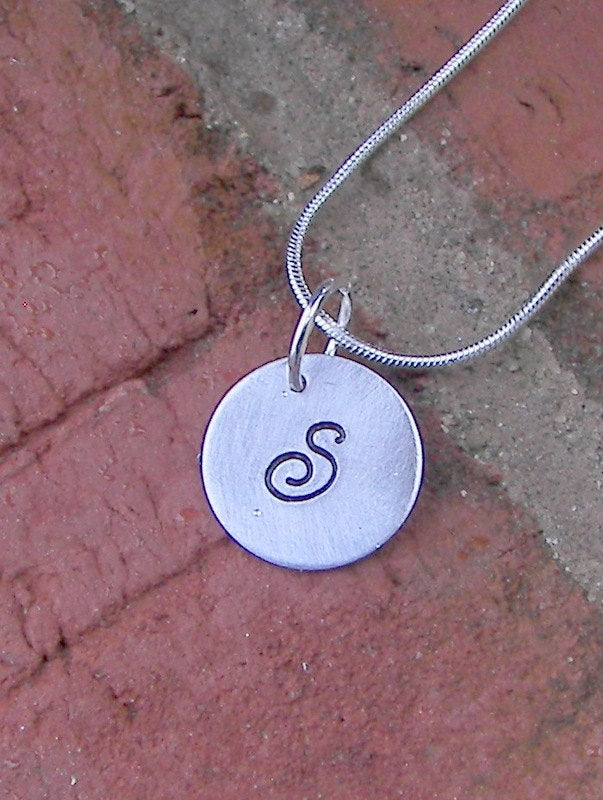 925 sterling Personalized initial charm necklace, tiny initial charm necklace , custom hand stamped jewelry