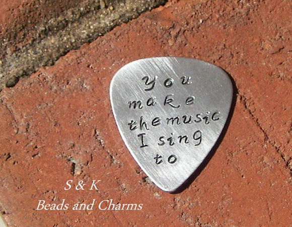 personalized quitar pick, custom hand stamped jewelry, boyfriend gift, gift for musician handstamped jewelry