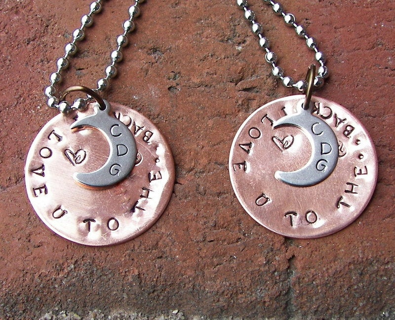 I love you to the moon and back mommy necklace, personalized hand stamped jewelry, custom necklace for kids from mom or grandmother