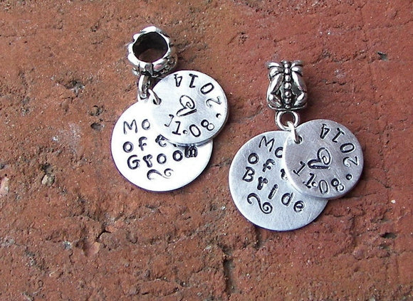 Mother of the  bride or groom personalized european charm, custom hand stamped jewelry to fit snake chain bracelet, Wedding party gifts