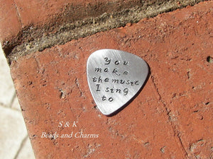 I picked you personalized guitar pick, custom hand stamped fathers day gift,  Anniversary gift message for music lover