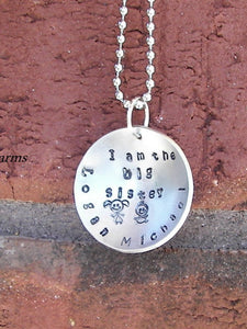 I'm the big sister/big brother,  personalized jewerly for new sibling, hand stamped jewerly handstamped jewelry
