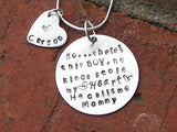 Sterling So..There's This Boy Who Stole My Heart mothers necklace, Custom personalized hand stamped mothers jewelry