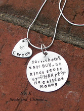 Load image into Gallery viewer, So..There's This Boy Who Stole My Heart, mom necklace with kids names, Personalized custom hand stamped jewelry give for  grandma
