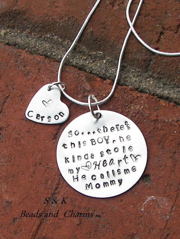 So..There's This Boy Who Stole My Heart, mom necklace with kids names, Personalized custom hand stamped jewelry give for  grandma