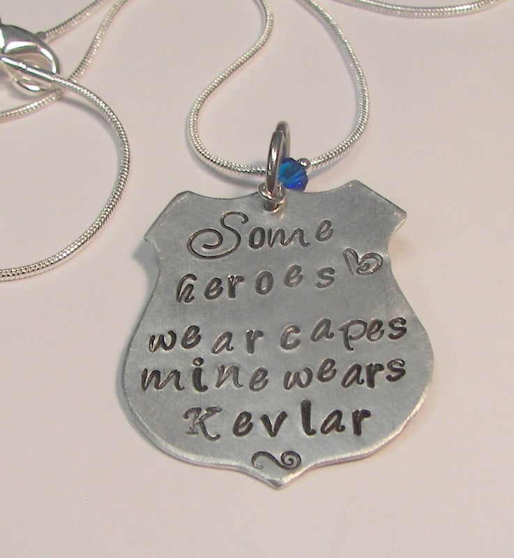 My hero wears Kevlar officer wife necklace , blue lives matter jewelry ,custom personalize  hand stamped fashion jewelry