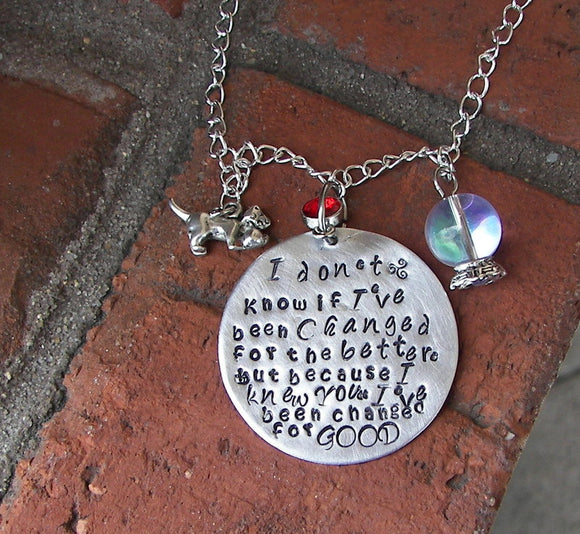 Because I knew you I have been changed, personalized  mothers jewelry , best friend going away gift
