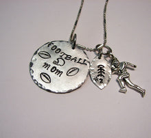 Load image into Gallery viewer, Hand stamped mommy jewelry, personalized jewelry, Football mom sport jewelry, custom necklace handstamped jewelry